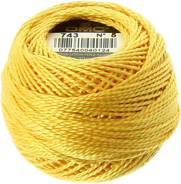 DMC Pearl, Perle Cotton Thread Ball | Size 8 | 743 Md Yellow