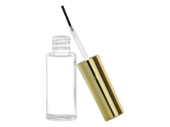 Nakpunar straight sided nail polish bottle with brush, mixing ball with metallic shiny gold caps