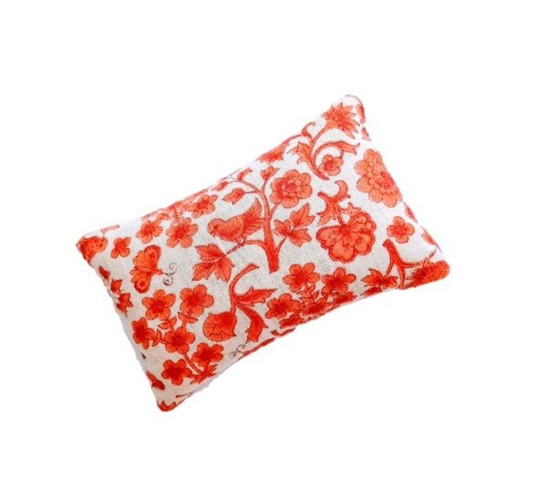 Vintage Orange Floral Sewing Pincushion with Emery Sand