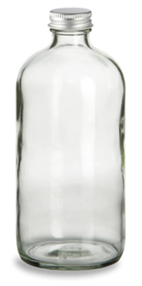 16 oz boston round bottle with silver aluminum cap