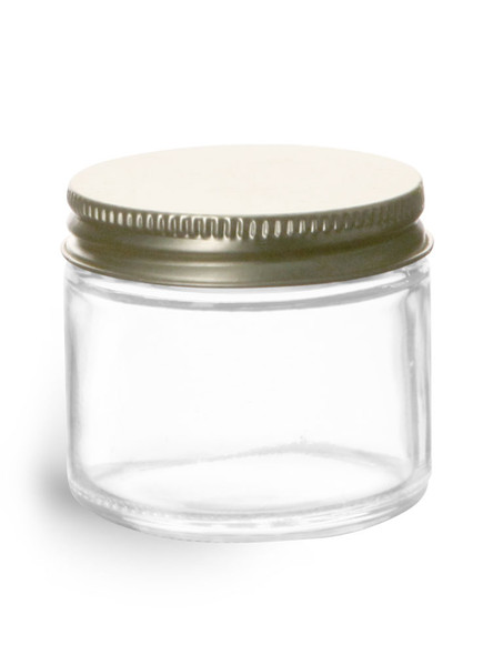 2 oz Straight Side Low Profile Glass Jar with Gold Metal Lid