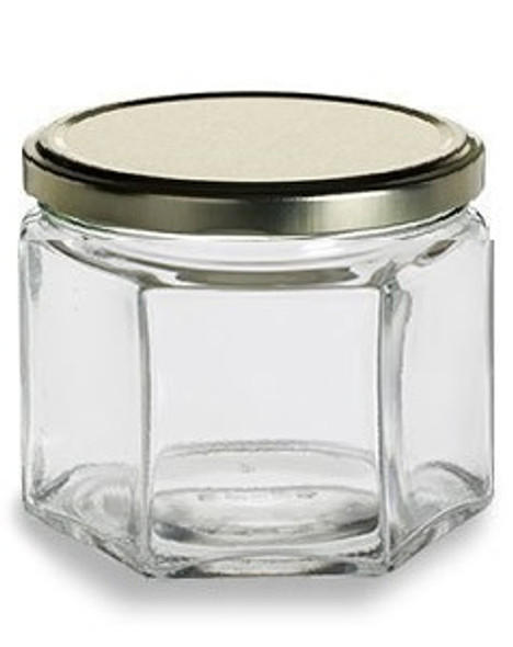 12 oz Hexagon  Glass Jar with Lid (380 ml)