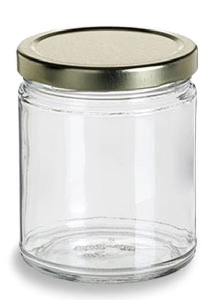 9 oz Straight Side Low Profile Glass Jar with Gold Metal Lid
