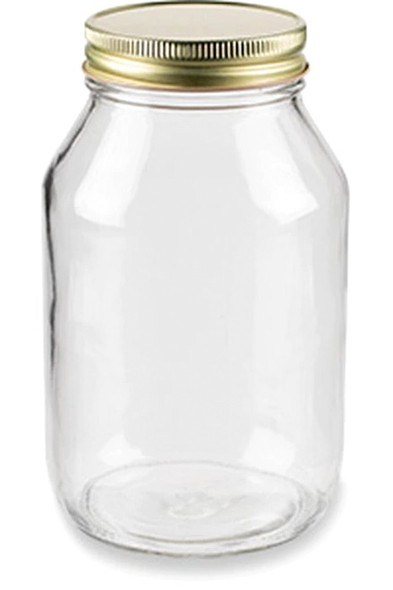 32 oz Clear Mason Glass Jars Mayo/ Economy Jars w/ Silver Metal Plastisol Lined Caps