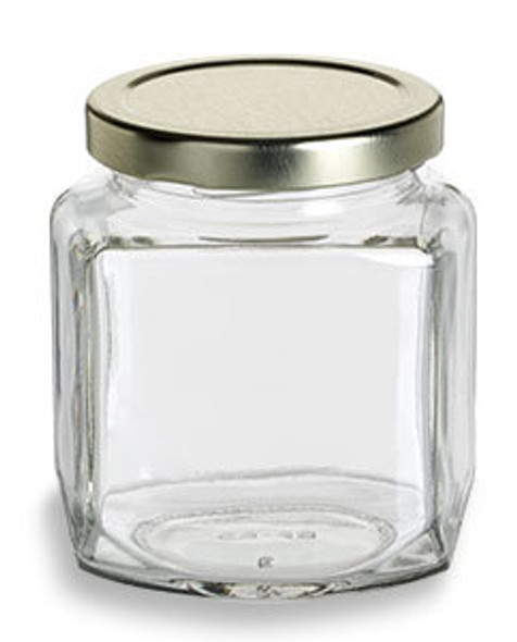 9 oz Oval Hexagon Glass Jars