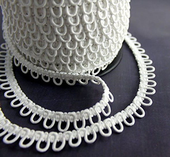 50 Meters White Adjacent Elastic Button Loops on Bolt - Made in Europe