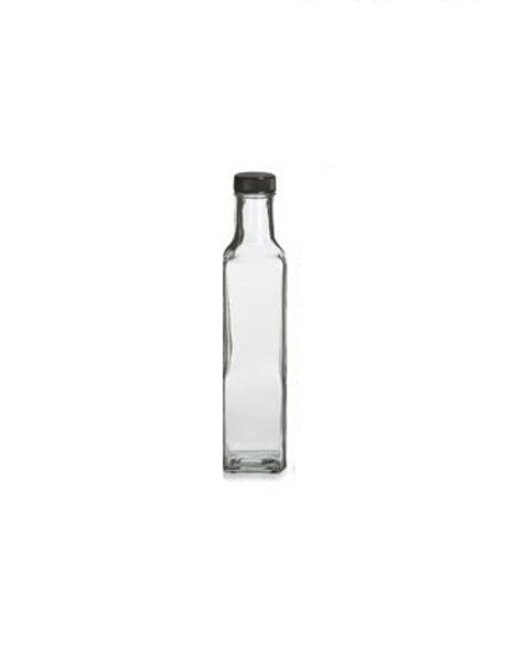 8.5 oz Marasca Square Glass Bottle with Black Cap - 250 ml
