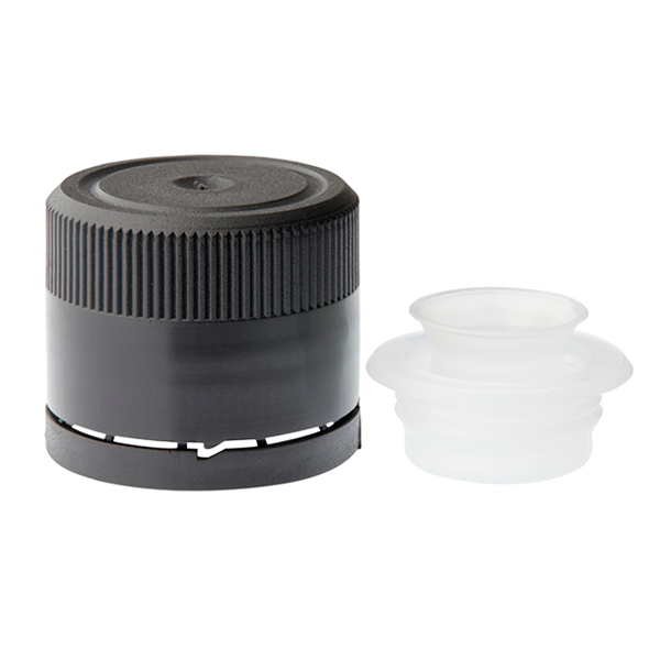 31.5 mm Black tamper evident cap with flow reducer