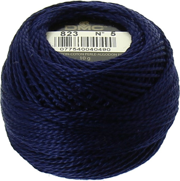DMC #5 Pearl, Perle Cotton Thread Ball | 823 Dark Navy Blue (116 5-823)
