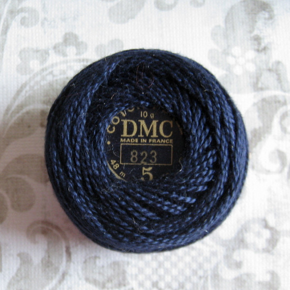 DMC Pearl, Perle Cotton Thread Ball | Size 5 | 823 Dark Navy Blue