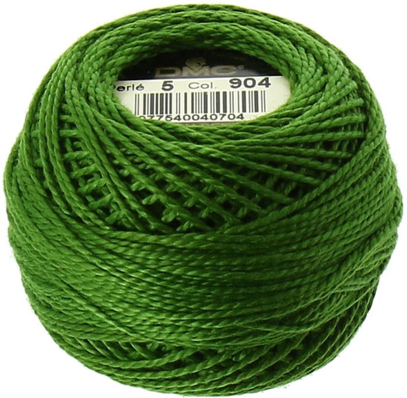 DMC Pearl, Perle Cotton Thread Ball | Size 5 | 904 Very Dark Parrot Green