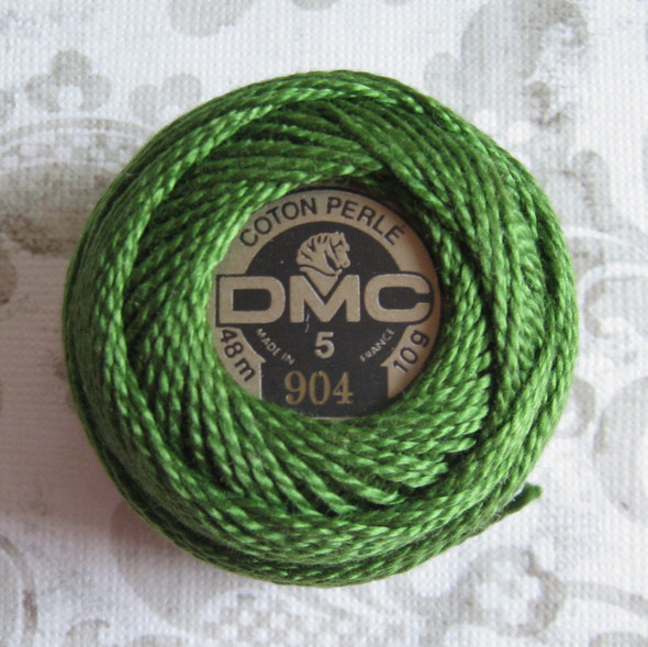 DMC #5 Perle Cotton Thread | 904 Very Dark Parrot Green