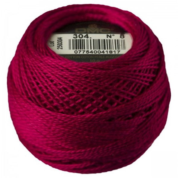 DMC Size 8 Perle Cotton Thread |304 Md Red (116 8-304)