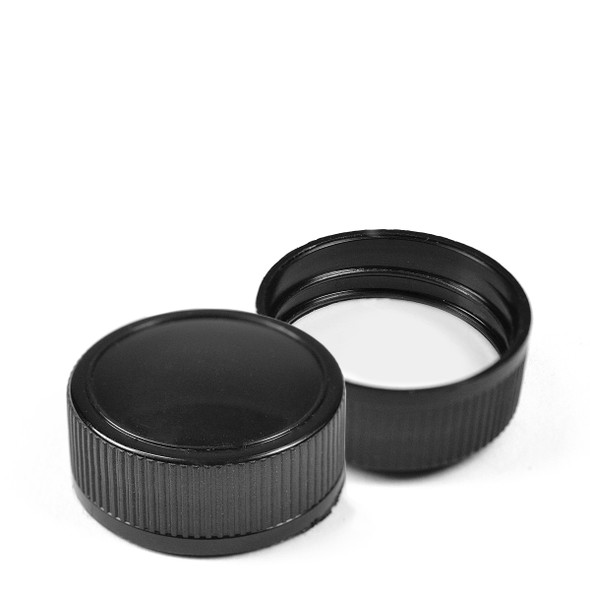 31.5 mm Black Cap with Flow Reducer Pourer - Ribbed edge, shiny dome cap
