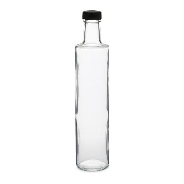 17 oz Clear Glass Dorica Oil Bottle with Black Cap - 500 ml