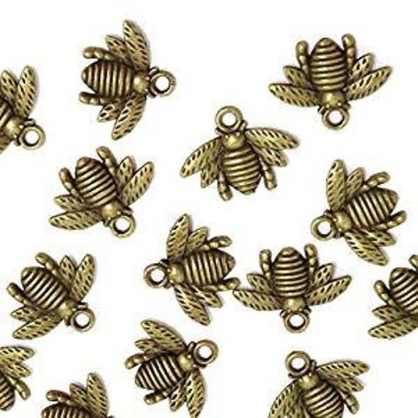 25 pcs Antique Bronze Honey Bee Charms 16x21mm