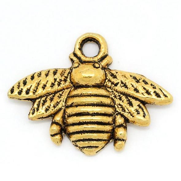 25 pcs Gold Honey Bee Charms 16x21mm