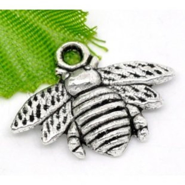 Silver Honey Bee Charms 16x21mm