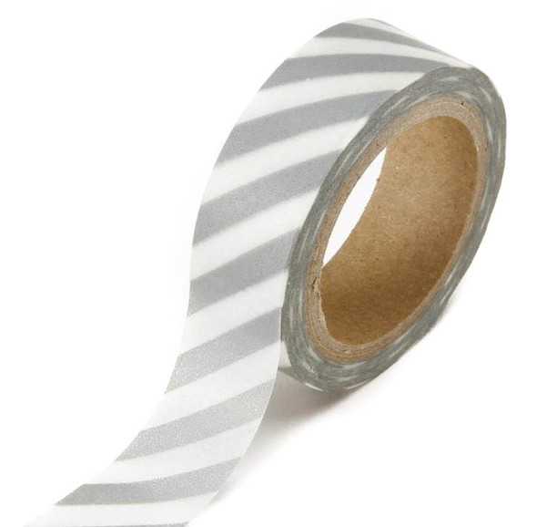 Silver Stripe Washi Tape - 15 m