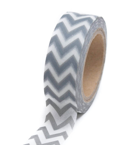 Silver Chevron Washi Tape - 15 m