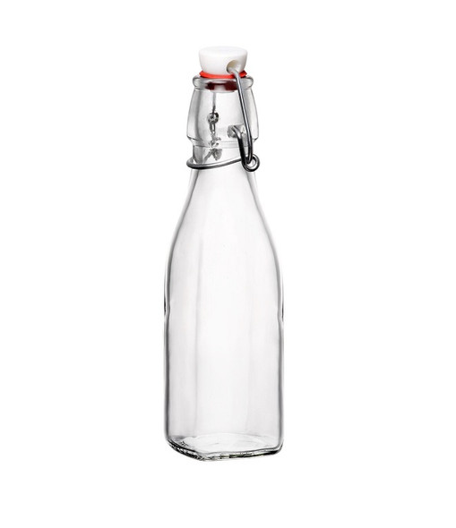 Nakpunar 8.5 oz clear Square Swing Top Glass Bottle