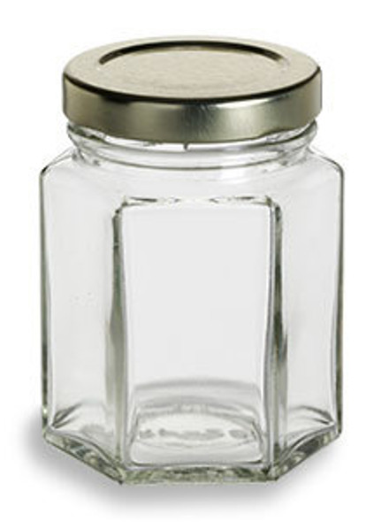 3.75 oz (110 ml) Hexagon Glass Jars for Sale with Gold Lid