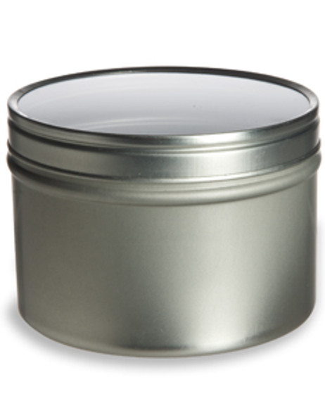 4 oz round tea tin with crystal clear lid