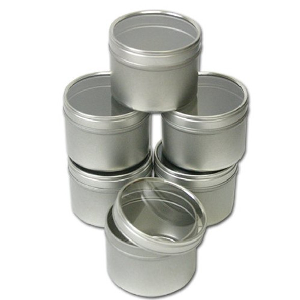 Set of 6, 8 oz Tin Container w/ Clear Top Cover