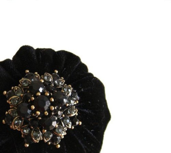 Black Velvet Emery Pincushion for sewing, quilting