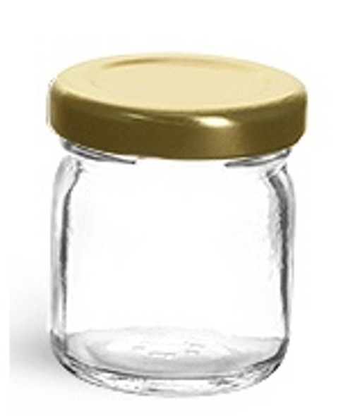 1.5 oz mini clear straight edge glass jar with lid - 45 ml