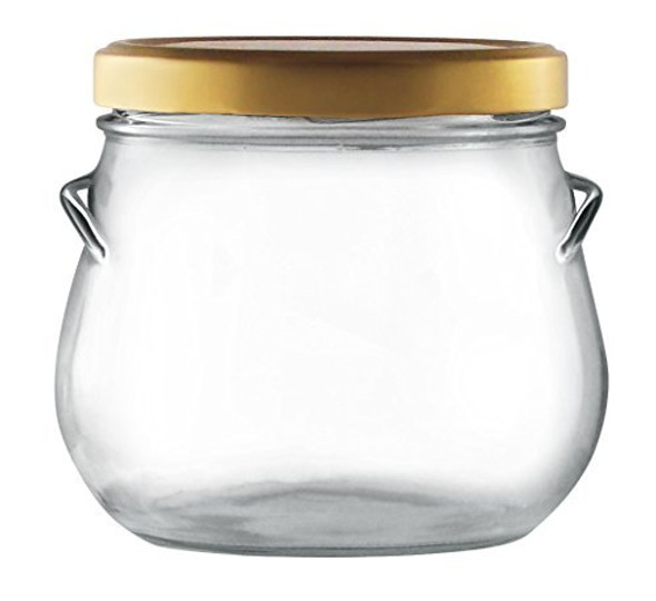 29 oz Large  Tureen Glass Jar with Gold Lid