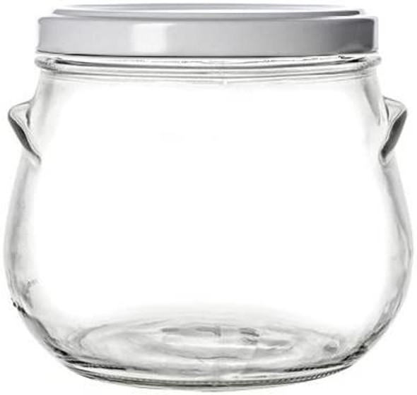 29 oz Large  Tureen Glass Jar with White Lid