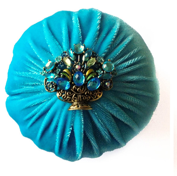 Nakpunar Aqua Blue Emery Sand Filled Sewing Pincushion to Keep your needles clean and sharp