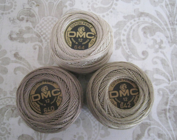 DMC 642 Dark Beige Gray Size 12 Perle Cotton Ball Embroidery Thread