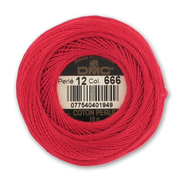 DMC 666 Bright Red Size 12 Perle Cotton Ball Embroidery Threads