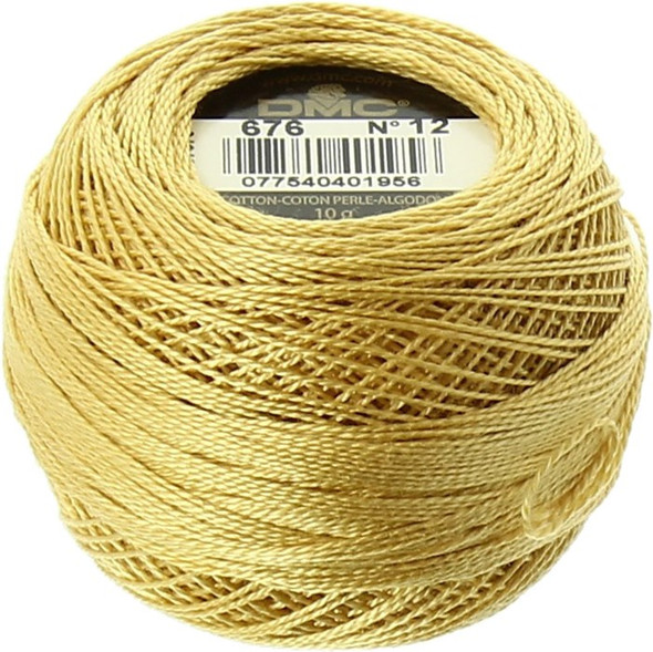 DMC  Perle Cotton Thread Ball | Size 12 | 676 Lt Old Gold