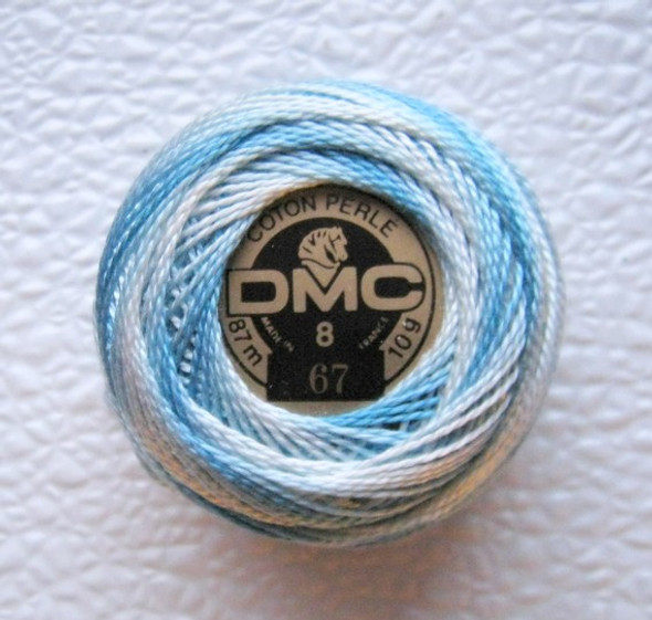 DMC Pearl Cotton Embroidery Thread Balls Size 8 - 67 Variegated Baby Blue