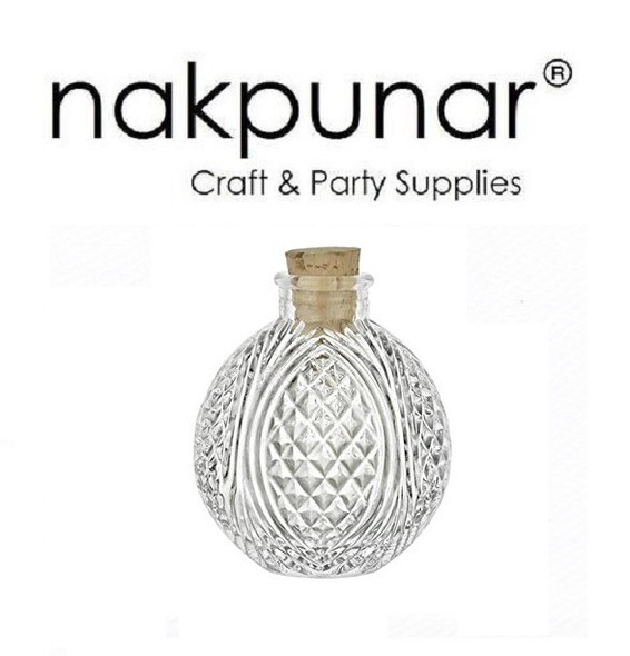 4 oz crystal cut design corked bottle