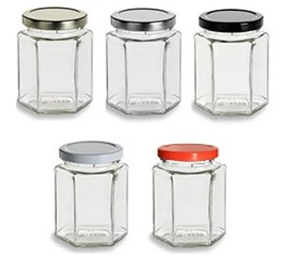 9 oz Hexagon Jars with Lids