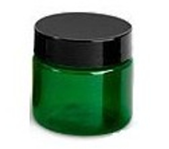 1 oz green plastic PET jar.