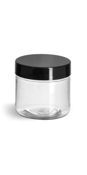 2 oz Clear Plastic Jar with Black shiny, smooth cap