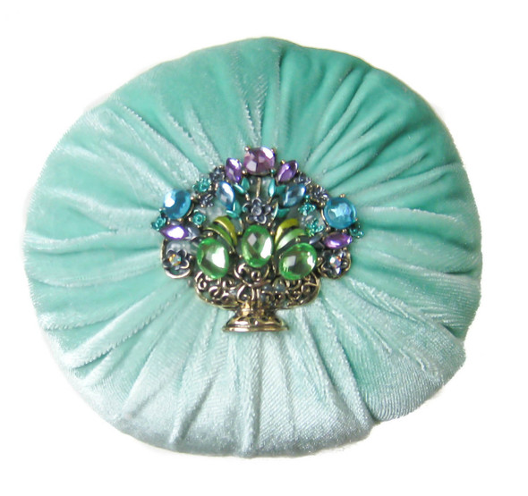 Mint Green Large Velvet Sewing Pincushion filled with Emery Sand