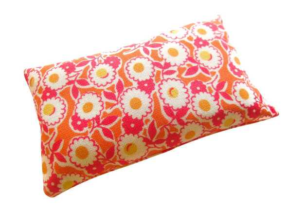 Nakpunar Emery Pincushion - Orange, pink floral - Rust free sharp needles