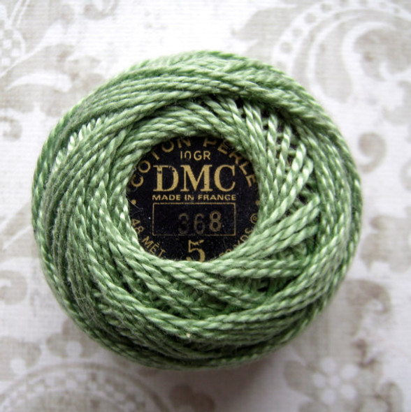 DMC Perle Cotton Thread Ball | Size 5 | 368 Light Pistachio Green
