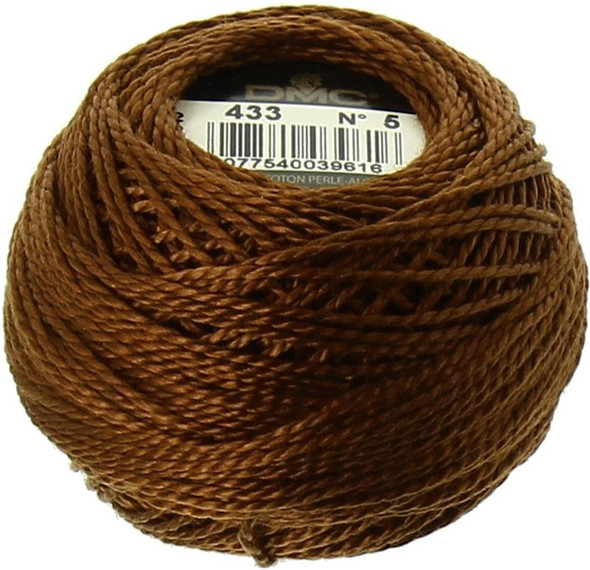 DMC Size 5 Pearl, Perle Cotton Thread Ball | 433 Medium Brown (116 5-433)