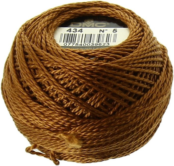 DMC Size 5 Perle, Pearl Cotton Thread Ball | 434 Light Brown (116 5-434)