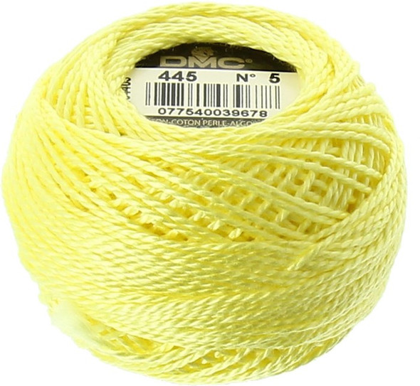 DMC Pearl, Perle Cotton Thread Ball | Size 5 | 445 Light Lemon Yellow