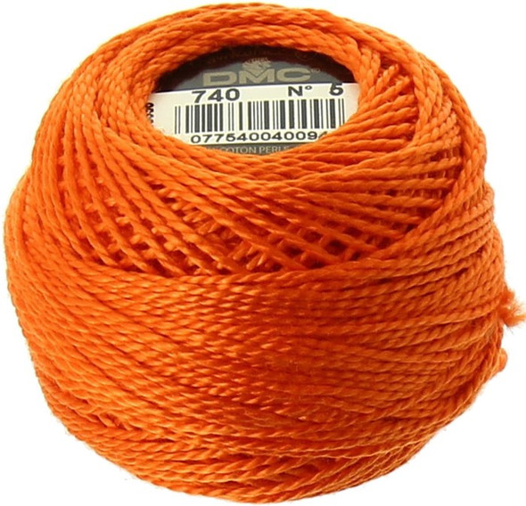 DMC #5 Perle, Pearl Cotton Thread Ball | 740 Tangerine (116 5-740)