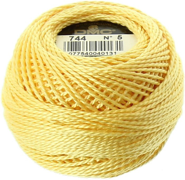 DMC #5 Perle Cotton Thread | 744 Pale Yellow by Nakpunar
