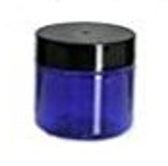 Nakpunar 1 oz Cobalt Blue Single Wall Plastic Jar with Black Smooth Lid